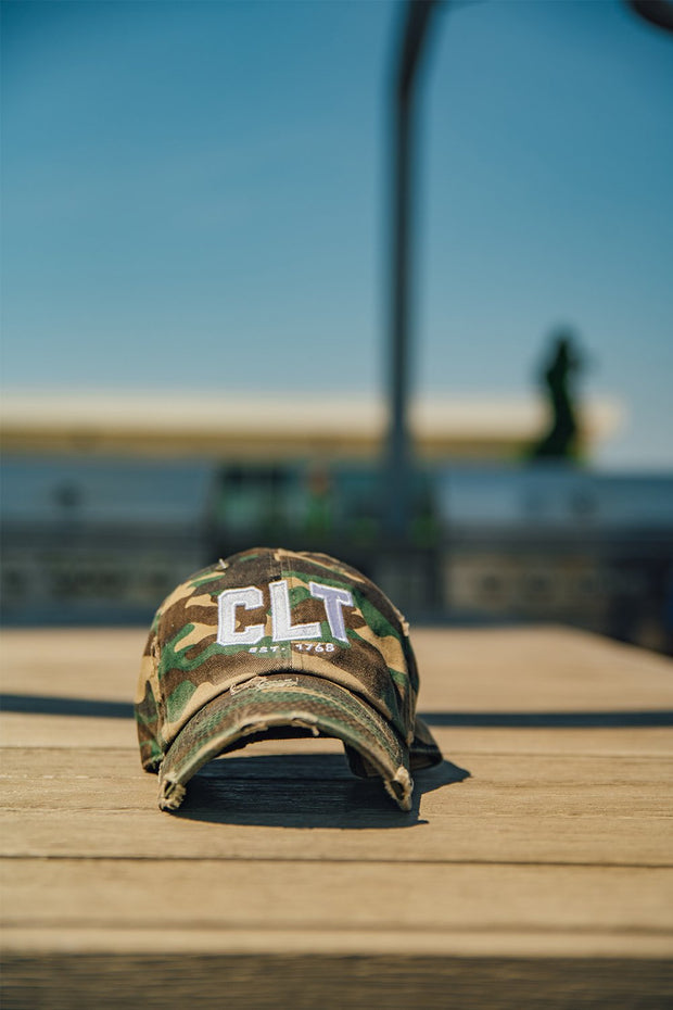 Hat - CLT Distressed Camo Hat