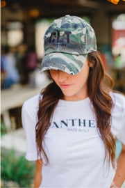 CLT Charlotte Distressed Hat Camo with Black #GirlTribeGameDay