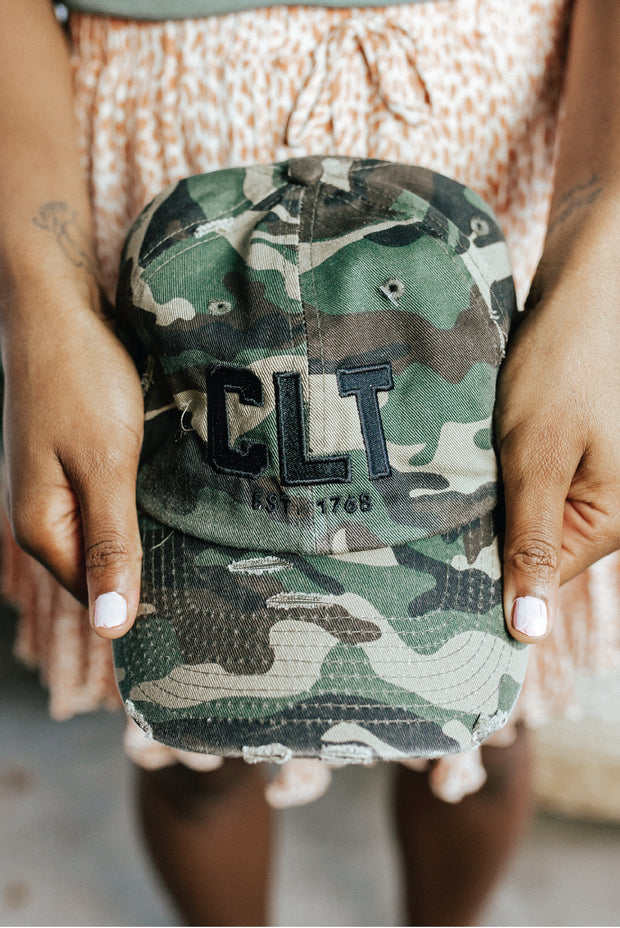 Hat - CLT Distressed Hat - Camo With Black