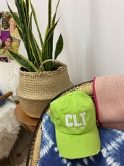 Hat - CLT Distressed Hat In Key Lime
