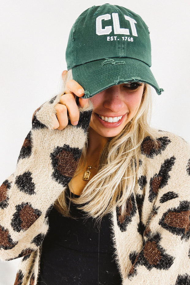 Hat - CLT Distressed Hunter Green Hat