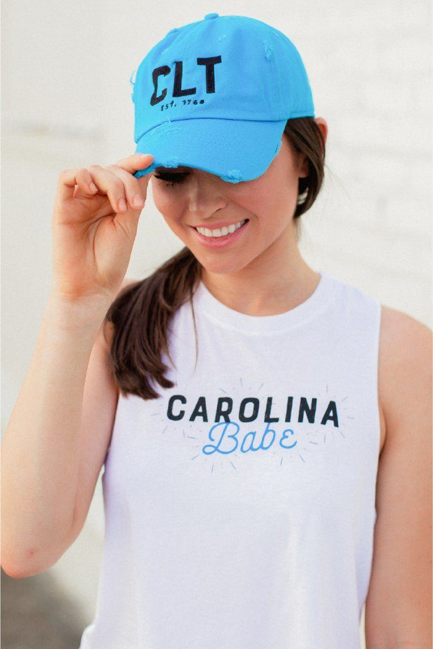 CLT Charlotte Distressed Panther Blue Hat W/ Black #GirlTribeGameDay (1303335764069)