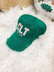 Hat - CLT Distressed Kelly Green With Pink Stitching Hat