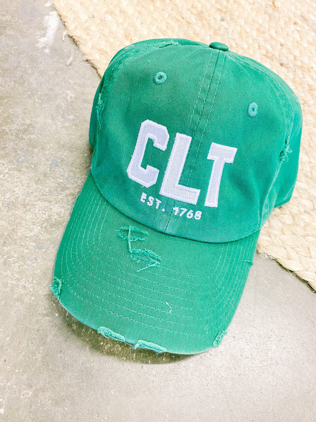 Hat - CLT Distressed Kelly Green With White Stitch Hat