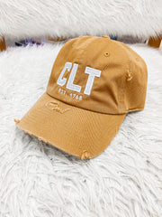 Hat - CLT Distressed Khaki Hat