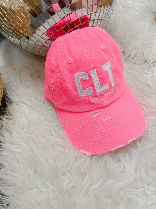 Hat - CLT Distressed Neon Pink Hat
