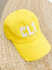 Hat - CLT Distressed Sunshine Yellow Hat