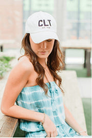 Black CLT Charlotte Hat White Distressed #GirlTribeGameDay (608081379360)