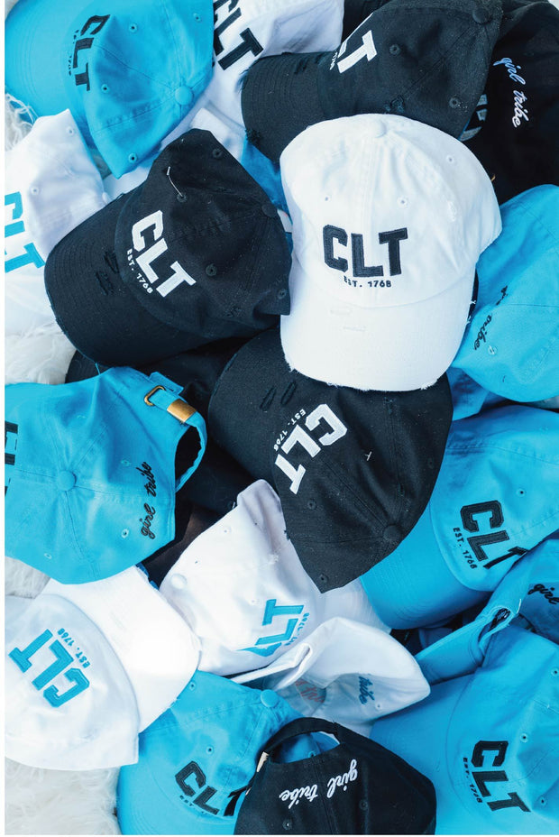 CLT Hat in White with Game Day Blue Stitch *Pre Order*
