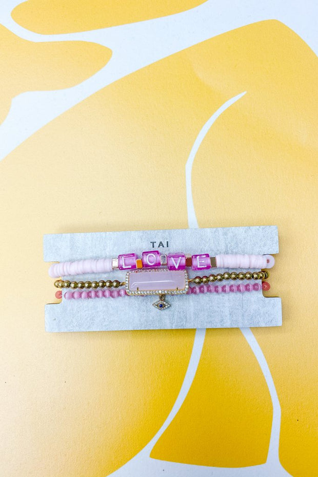 Jewelry - Set Of 3 All Pink Love Bracelet