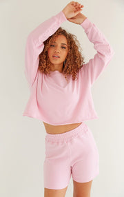 Lounge Wear - Cropped Sweatshirt In Bazooka