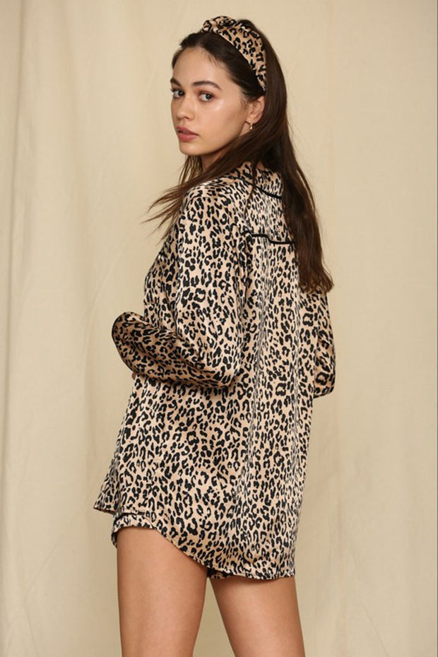 Lounge Wear - The Clarke Leopard Satin Top