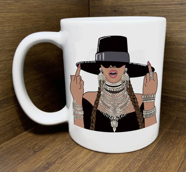 Mugs - Beyonce Middle Fingers Up Mug