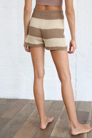 Shorts - The Liza Striped Shorts In Mocha