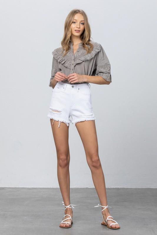Shorts - The Rileigh White Denim Shorts