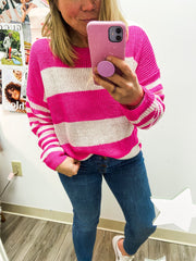 Sweater - The Allie Sweater In Neon Pink