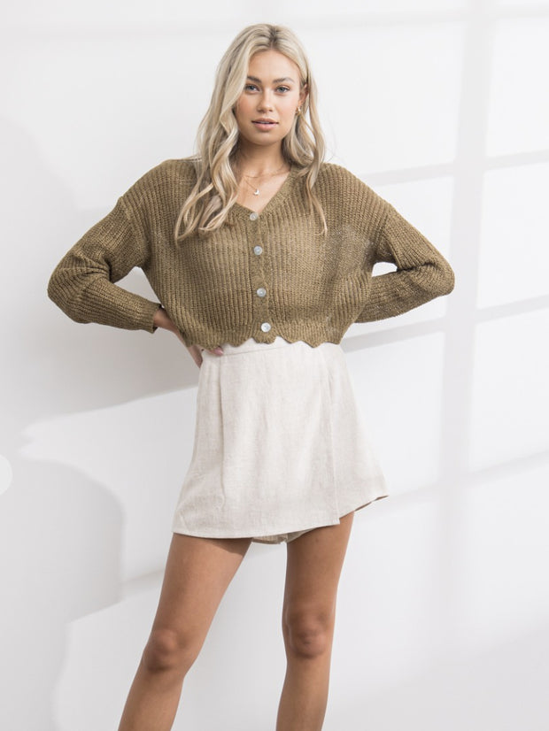 Sweater - The Emily Cardigan In Olive