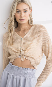 Sweater - The Emily Cardigan In Taupe