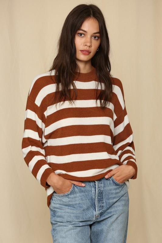 Sweater - The Kailee Striped Sweater In Camel