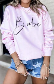 Sweatshirt - Babe Sweatshirt In Pink