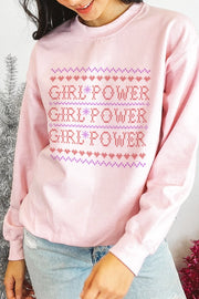 Sweatshirt - Girl Power Holiday Sweatshirt In Pink