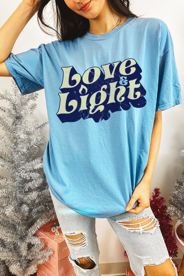 T-Shirt - Love And Light T-Shirt In Washed Blue