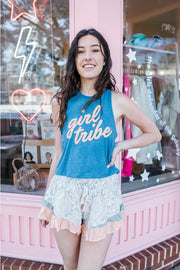 Tank - Girl Tribe™ Blue And Peach Cropped Racerback Tank