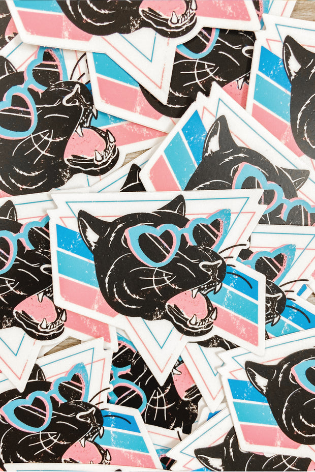 Vintage - Heart Eyes Panther Sticker