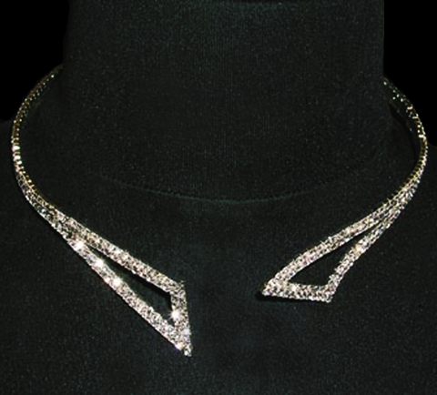 Rhinestone Flexible-Collar-Necklace