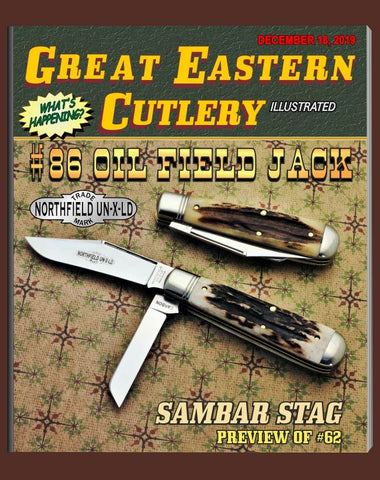 "Great Eastern 861219 Northfield Sambar Stag Oil Field Jack. THREE ""STORE"" KNIVES."""