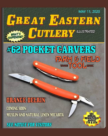 "Great Eastern 620320 Farm & Field Orange Delrin Pocket Carver. ""STORE KNIFE"""