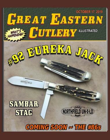 "Great Eastern 922219 Northfield Sambar Stag Eureka Jack. THREE ""STORE KNIVES."""