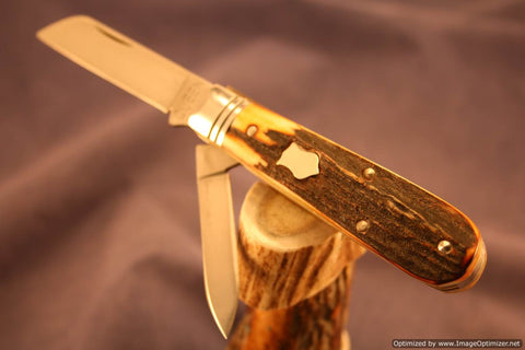 Queen City Cutlery #69 Sambar Stag Barlow.  1 of 15 Issued.   #633