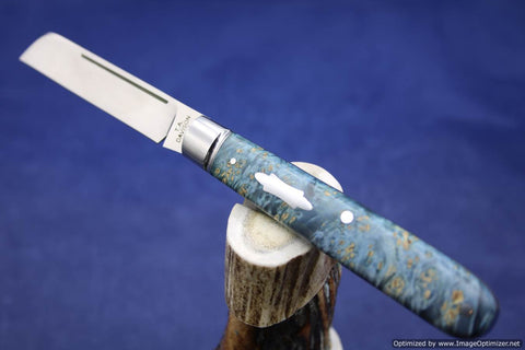 Todd Davison Blue Box Elder Burl Folder. #1570
