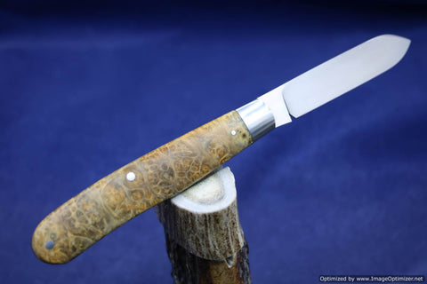 Todd Davison Stabilized Black and Gold Box Elder Burl Folder.   #1614