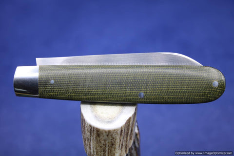 Todd Davison Green Canvas Micarta Folder #1629