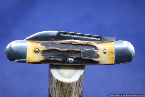 Schatt & Morgan Cutlery #63 Rail Splitter, Torched Stag Short Run1 of 30.  #1357