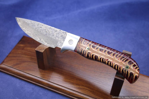Jim Craig Exotic Red Pinecone Handled Fixed Blade.