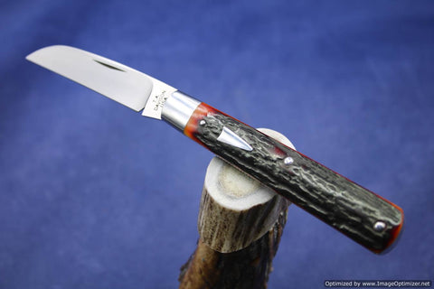 Todd Davison Custom Amber Stag Folder Knife. #1410