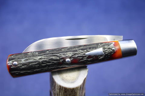 Todd Davison Custom Amber Stag Folder Knife. #1440