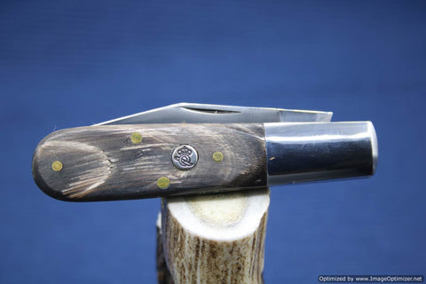 Queen Cutlery #69FBH, Feathered Buffalo Horn Single Blade Barlow.  #449
