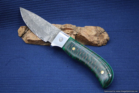 Jim Craig Exotic Green Pine Cone Handled Fixed Blade. #1844