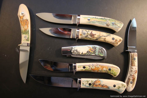 George Herron Seven Piece Wildlife Set. Scrimshaw By Sandra Brady.