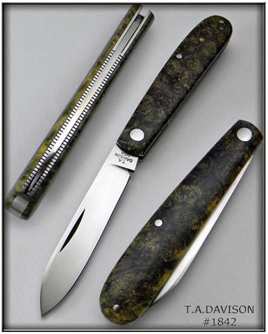 Todd Davison #1842 Box Elder Burl Shadow Pattern Folder.