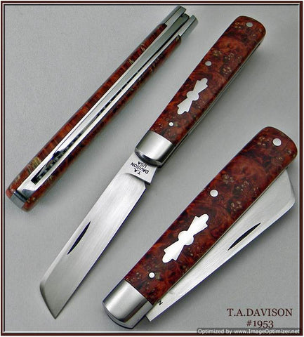 Todd Davison Custom Red Box Elder Burl Folder.   #1953