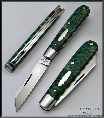 Todd Davison Green Box Elder Burl Folder.  #1959