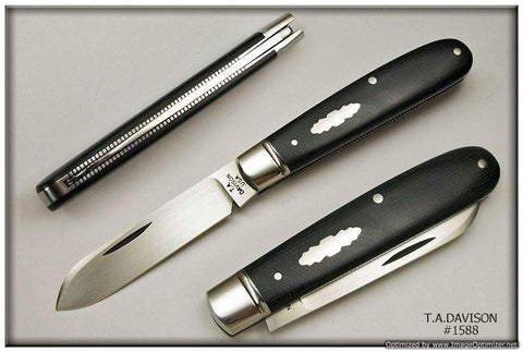 Todd Davison Black Canvas Micarta Folder.   #1588