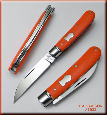Todd Davison Orange G-10 Sway Back Folder. The Perfect EDC.   #1632