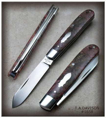 Todd Davison Custom Burgundy Box Elder Burl Folder. #1658