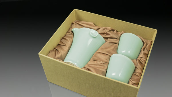 ".Anta Pottery. Celadon ""Breathing Forest"" Tea Set"